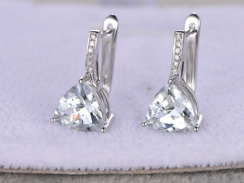 Natural Aquamarine earrings pair!Diamond White gold,2.55ct trillion cut Blue Stone Gemstone Promise,wedding,Prong,Pave,dangle clip earrings