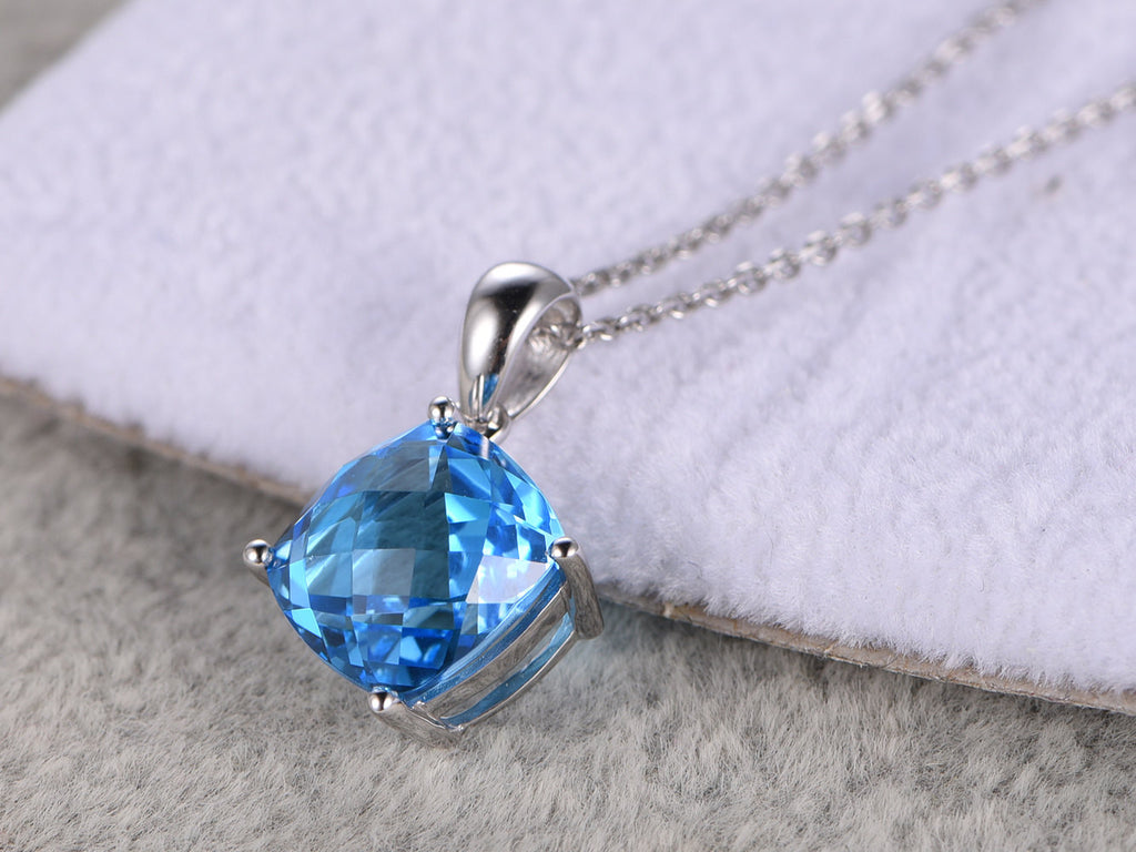 4.15ct Natural Topaz Pendant! 14k White gold,Cusion cut,Blue Stone Gemstone Promise,wedding,Prong set