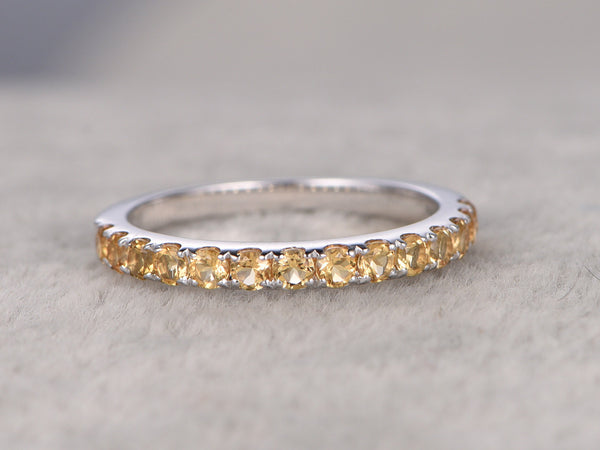 2mm thick Yellow Citrine Wedding Ring,Solid 14K gold,Pave Set,Anniversary Ring,Half Eternity Band,stackable ring,November BirthStone
