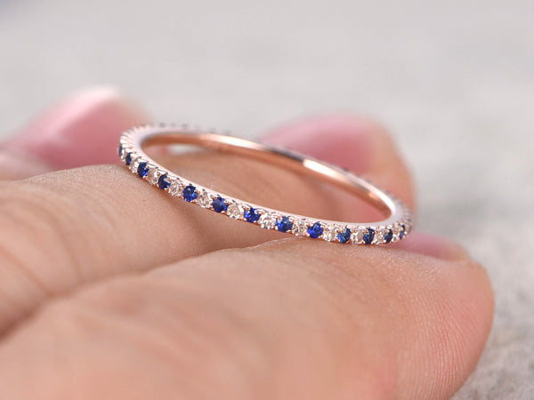 Natural Sapphire and Diamond,Half Eternity Wedding Ring,Solid 14K Rose gold,Anniversary Ring,Art deco,stacking ring,Thin design matching