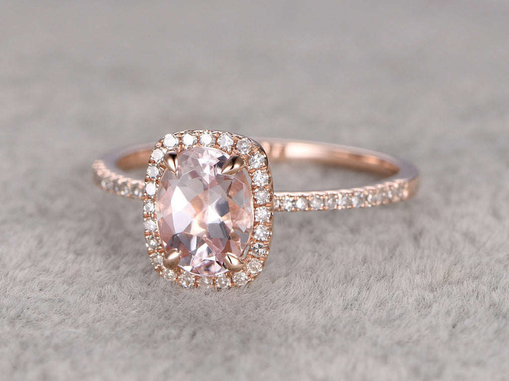 6x8mm Morganite Engagement ring rose gold,Diamond wedding band,14k,Oval Cut Cushion halo,Gemstone Promise Bridal Ring,Claw Prongs,Pave Set