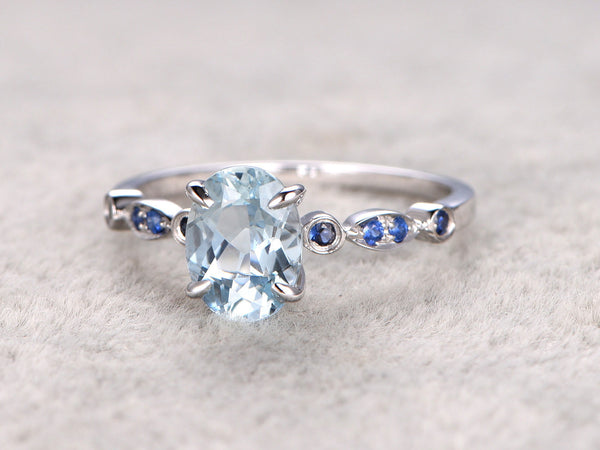 6x8mm Natural Blue Aquamarine Ring! 14k White gold with Sapphire,Bridal ring,Oval Cut,Blue Stone Gemstone Promise Ring,Prong set