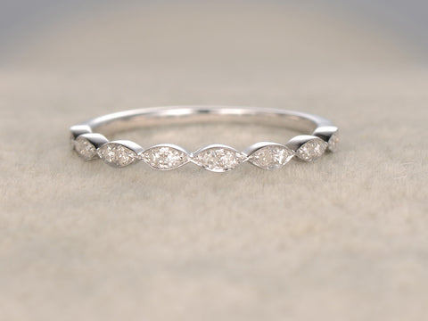 Natural Diamonds,Half Eternity Wedding Ring,Solid 14K White gold,Anniversary Ring,Art deco Marquise style,stacking ring,Matching band