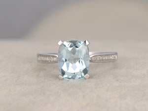 2.02ctw Aquamarine Engagement ring,Diamond wedding band,14K white Gold,Gemstone Promise Ring,Heart Underneath,IF Blue Aquamarine,Pave Set
