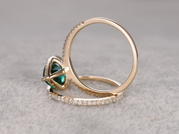 2pc Emerald Ring Bridal Set,Engagement ring Yellow gold,Diamond wedding band,14k,6x8mm Pear Cut,Green Treated Emerald Gemstone Stacking Ring