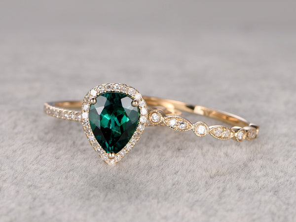 2pc Emerald Ring Bridal Set,Engagement ring Yellow gold,Diamond wedding band,14k,6x8mm Pear Cut,Green Treated Emerald Gemstone Promise Ring