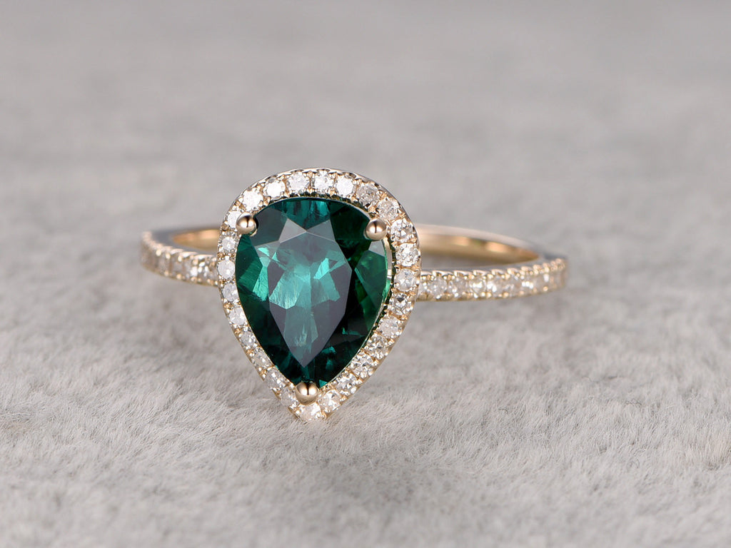 Emerald Engagement ring Yellow gold,Halo Diamond,wedding ring,14k,6x8mm Pear Shaped Cut,Green Treated Gemstone Promise,Anniversary Ring,Fine