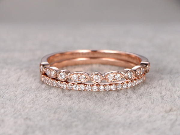 2pcs Half Eternity Wedding Ring,Diamond ring,Solid 14K Rose gold,Anniversary Ring,Art deco Marquise style,stacking,milgrain,Matching band