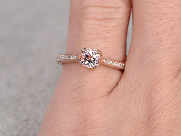 Morganite Engagement ring Rose gold,Diamond wedding band,14k,6.5mm Round Cut,Gemstone Promise Bridal Ring,unique prong,new design