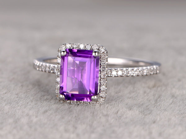 Amethyst Engagement ring,Halo Diamond wedding ring,14K White Gold Band,6x8mm Emerald Cut Purple stone Promise Ring,Bridal Ring,Fine Design
