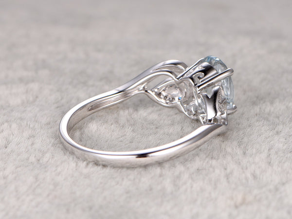 6x8mm Oval Aquamarine Ring!Filigree floral Diamond Engagement ring White gold,Bridal,Unique Design,Blue Stone Promise Ring,wedding,curved