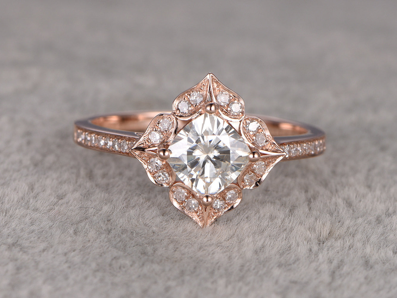 7mm Cushion brilliant Moissanite Engagement ring Rose gold,Diamond wedding band,1.7ct stone Promise Bridal Ring,Halo floral,Anniversary