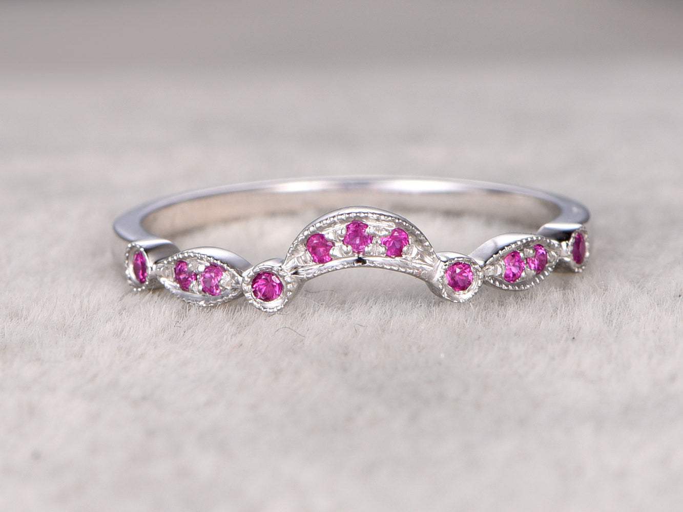 Natural Ruby Eternity Wedding Band,Solid 14K White gold,Anniversary Ring,Art deco,stackable ring,Curved,milgrain,Bridal ring