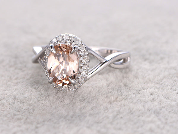 6x8mm Oval Morganite Engagement ring 14K White gold-twist band