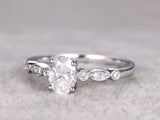Moissanite engagement ring set 14k white gold art deco diamond wedding band promise bridal ring