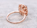 Big cushion morganite engagement ring diamond wedding band 10X12mm natural stone 14k rose gold