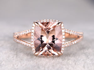 Big cushion cut morganite engagement ring 10x12mm natural gemstone split shank diamond wedding band 14k rose gold