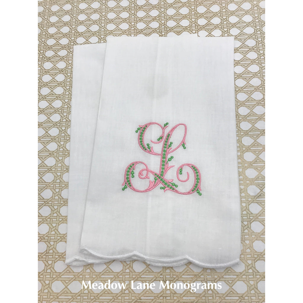 Scalloped Edge Linen Tea Towel