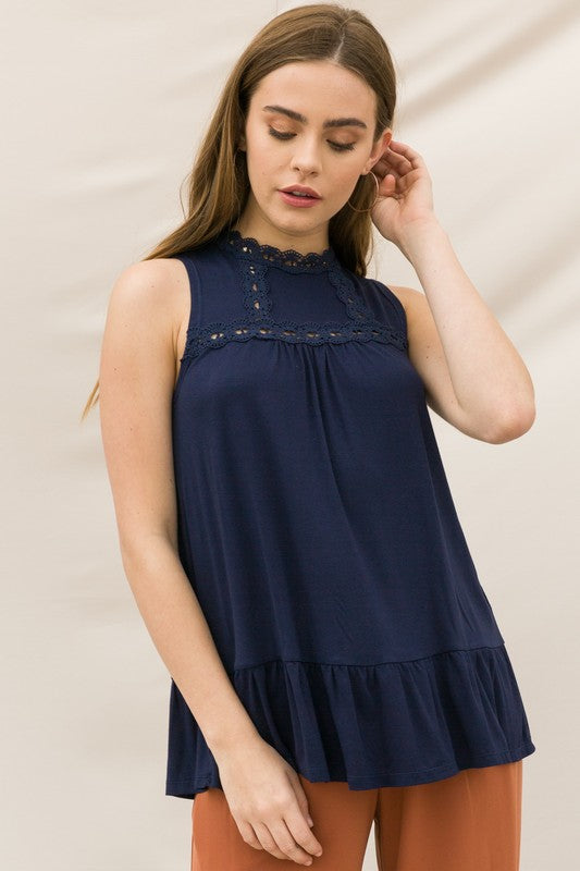BLUE LACE INSET PLEATED MOCK NECK SLEEVELESS TOP - Sooz Boutique