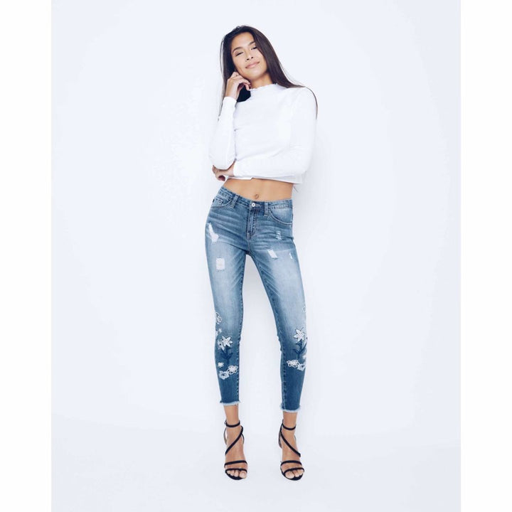 KanCan Ankle Skinny Jean with Flowers - Sooz Boutique