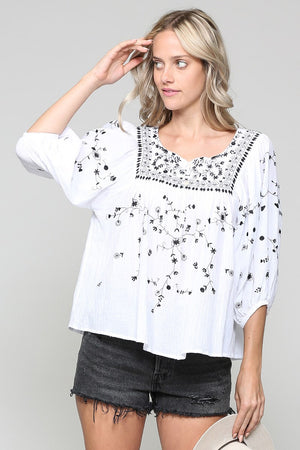 White peasant blouse with delicate floral embroidery - Sooz Boutique