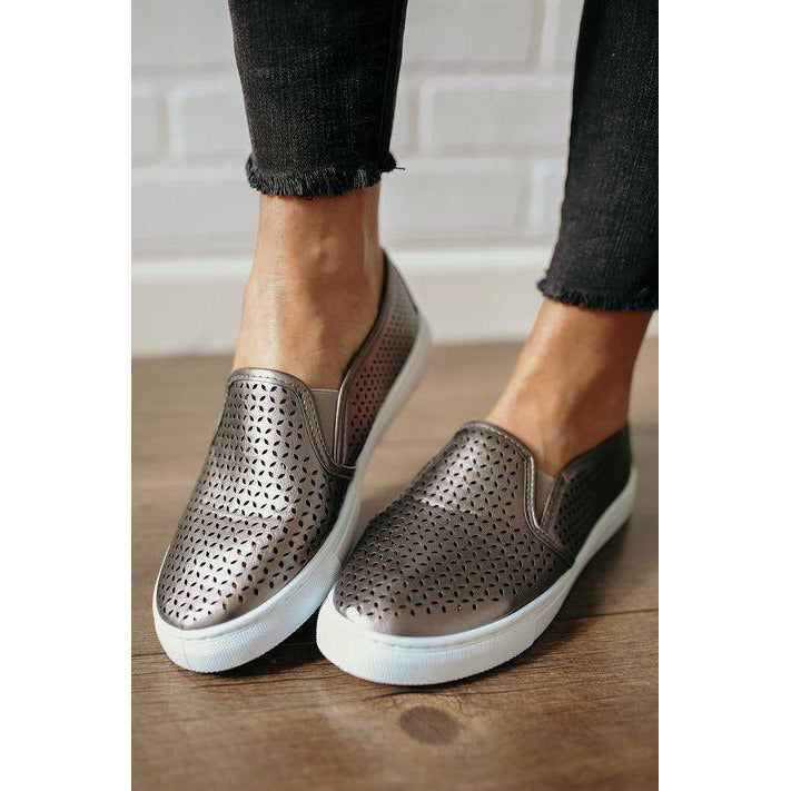 MIA Edith Perforated Leather Sneaker - Pewter - Sooz Boutique