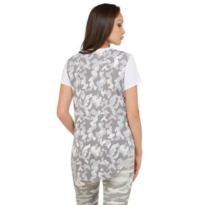 Nygard Camo & Sequin Jersey Hi-Lo Top - Sooz Boutique