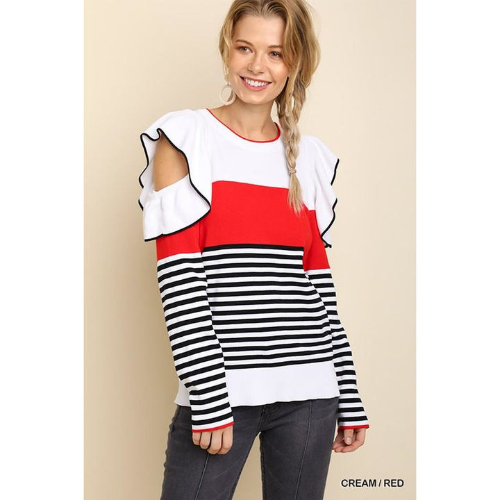 Striped and Colorblocked Sweater - Sooz Boutique