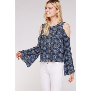 Retro patterned bell sleeved top in Blue - Sooz Boutique