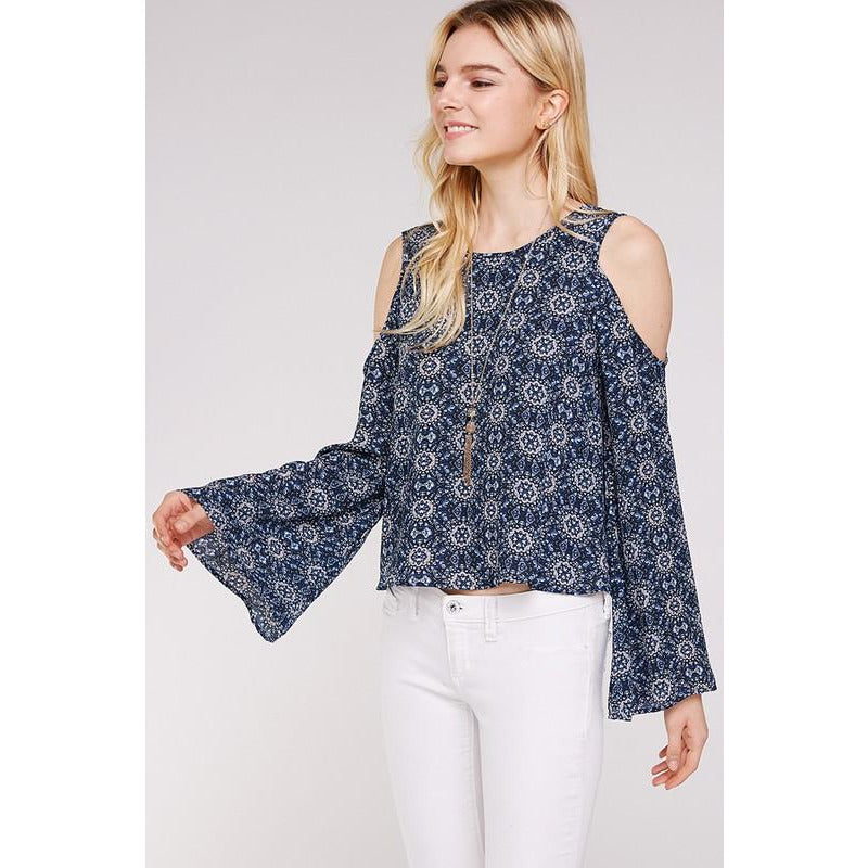 Retro patterned bell sleeved top in Blue