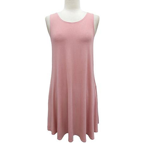 Solid Pink Sleeveless Dress with Pockets
