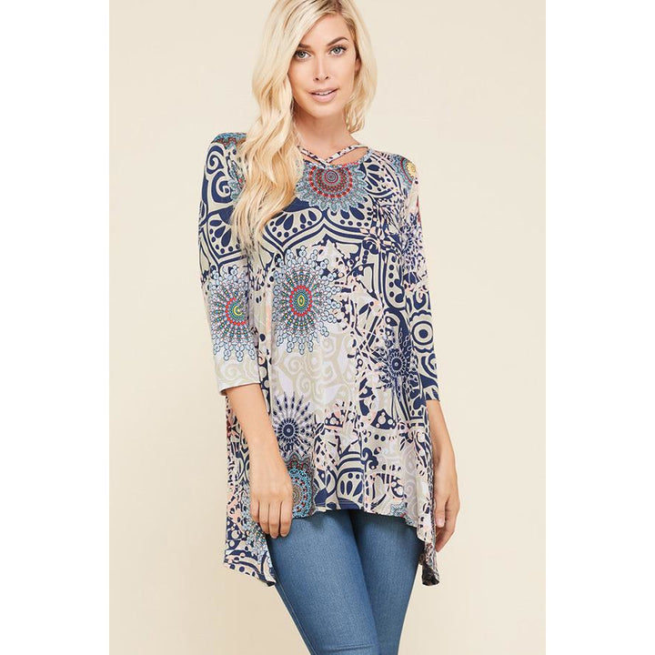 Multi Print Criss-Cross Neck Tunic - Sooz Boutique
