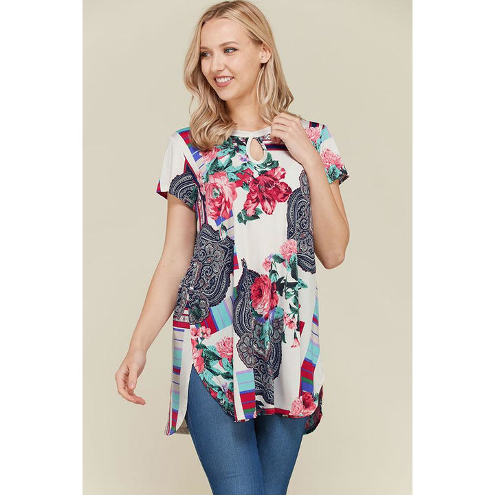 Short Sleeve Floral Print Tunic - Sooz Boutique