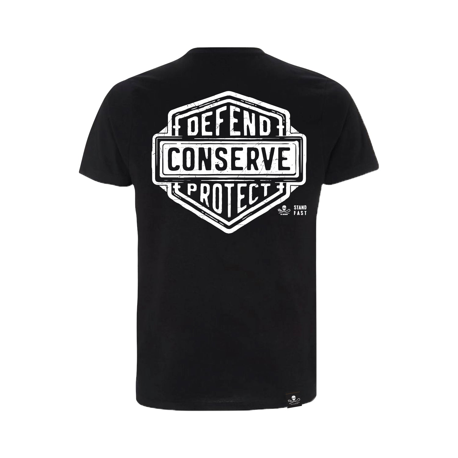 Sea Shepherd Stand Fast - Defend Conserve Protect Forever 100% Organic Cotton Jersey - Black Tee