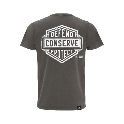 Sea Shepherd Stand Fast - Defend Conserve Protect Forever 100% Organic Cotton Jersey - Stone Wash Grey Tee