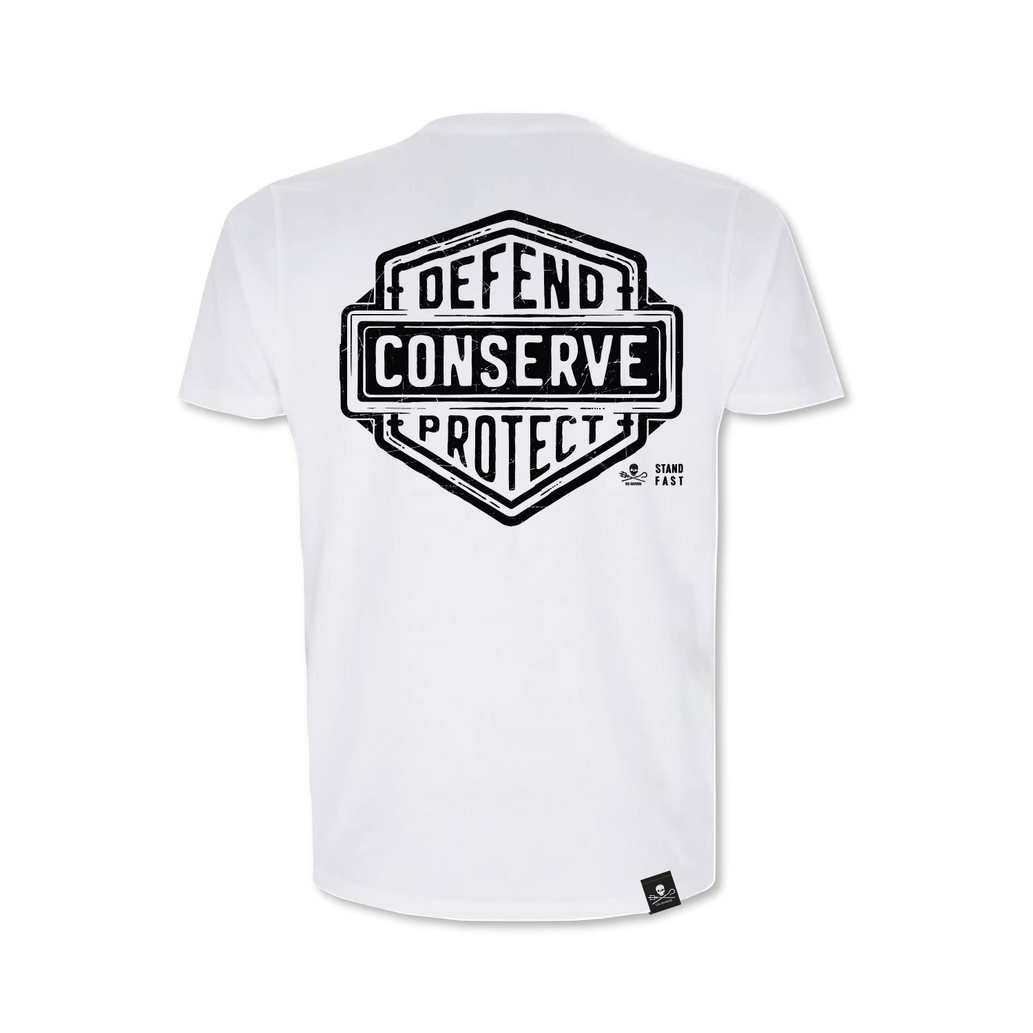 Sea Shepherd Stand Fast - Defend Conserve Protect Forever 100% Organic Cotton Jersey - White Tee