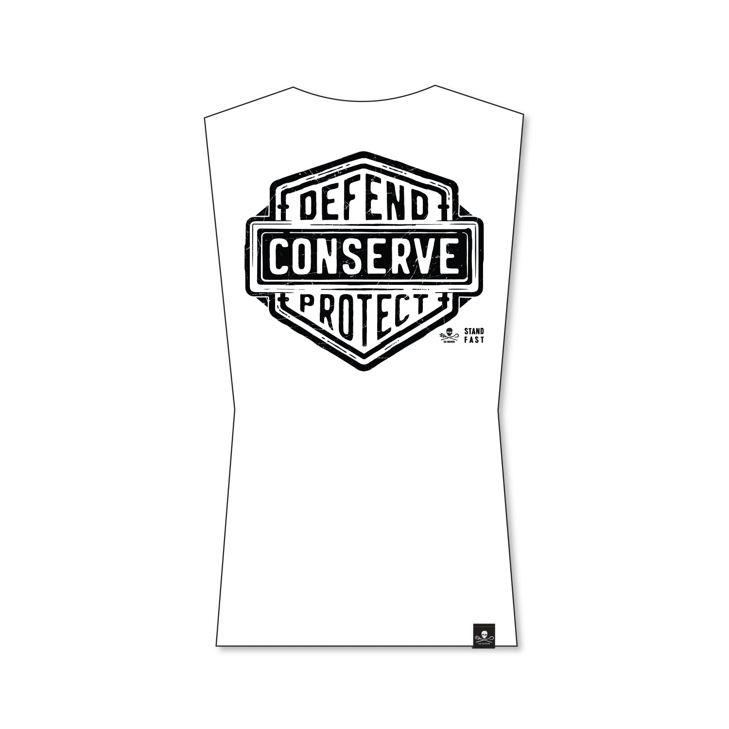 Sea Shepherd Stand Fast - Defend Conserve Protect Forever 100% Organic Cotton Muscle - White Tee