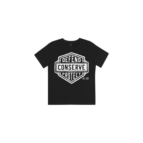 Sea Shepherd Stand Fast - Defend Conserve Protect Forever 100% Organic Cotton Kids - Black Tee