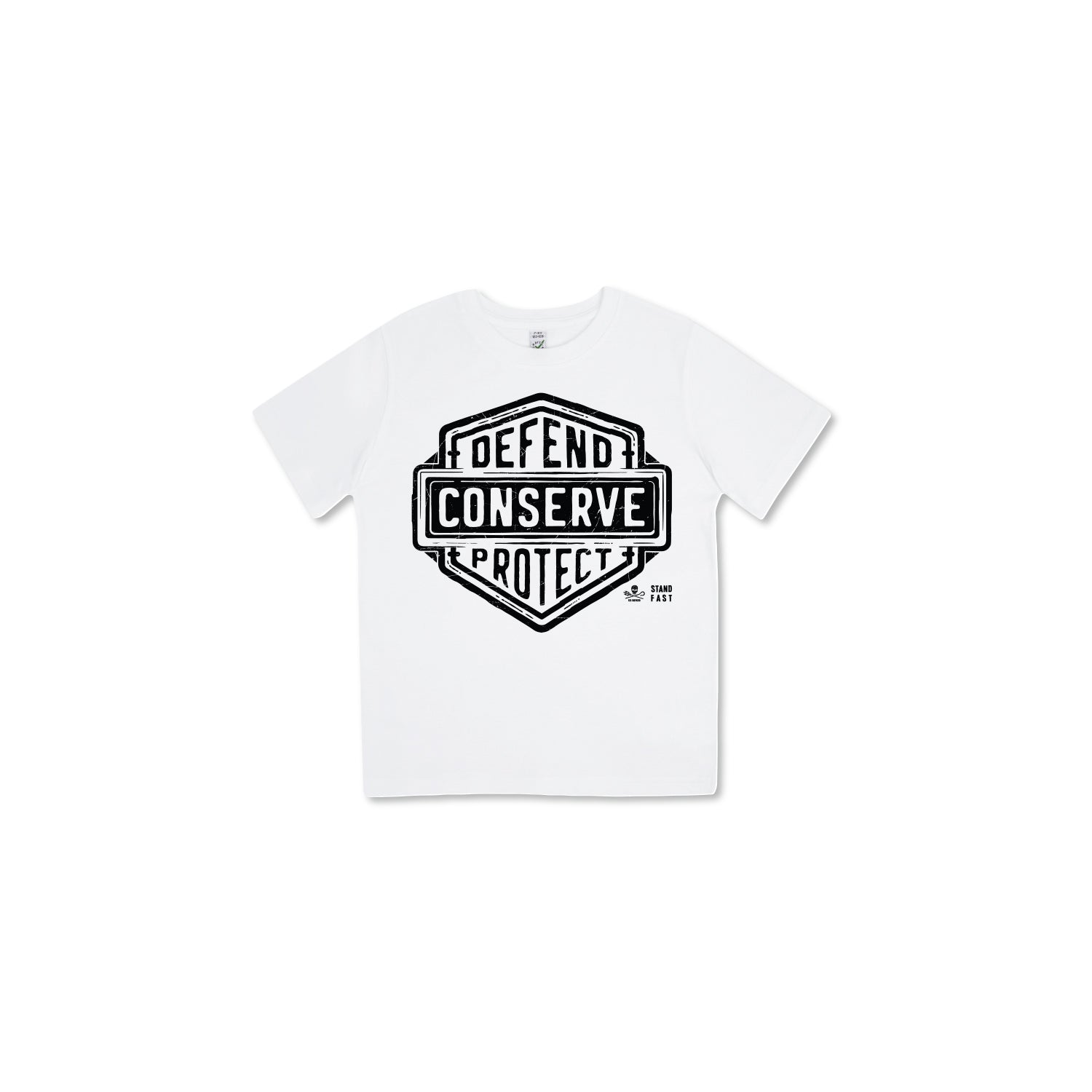 Sea Shepherd Stand Fast - Defend Conserve Protect Forever 100% Organic Cotton Kids - White Tee