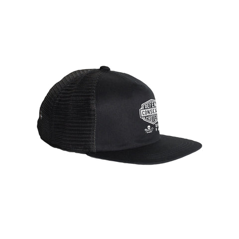 Sea Shepherd Stand Fast - Defend Conserve Protect Forever - Black Organic Cotton / Recycled Poly Trucker Cap