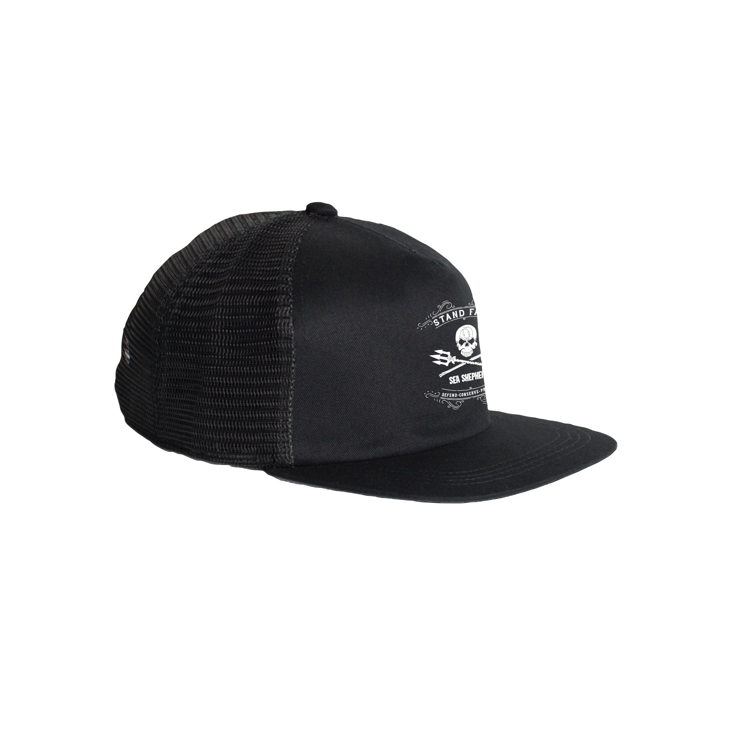Sea Shepherd Stand Fast - Grand Master - Black Organic Cotton / Recycled Poly Trucker Cap