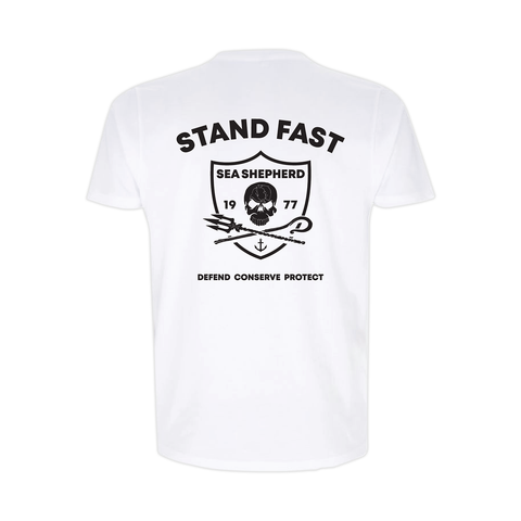 Sea Shepherd - Standfast - Seven Seas Battle - 100% Organic Cotton S/S Tee - White