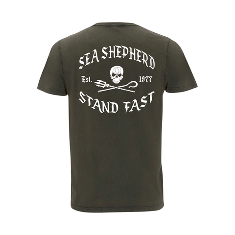Sea Shepherd - Standfast - Great White - 100% Organic Cotton S/S Tee - Washed Green