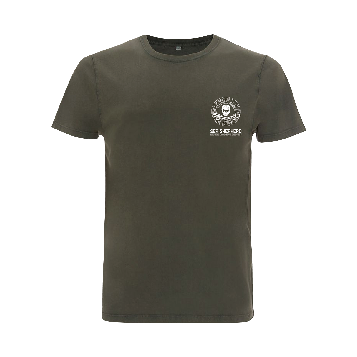 Sea Shepherd - Standfast - Ships Cargo Stamp - 100% Organic Cotton S/S Tee - Washed Green