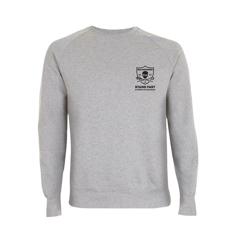 Sea Shepherd - Standfast - Seven Seas Battle - 100% Organic Cotton Fleece Crew - Grey Marle