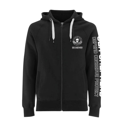 Sea Shepherd - Standfast - Ships Cargo Stamp - 100% Organic Cotton Fleece Zip Hood - Black