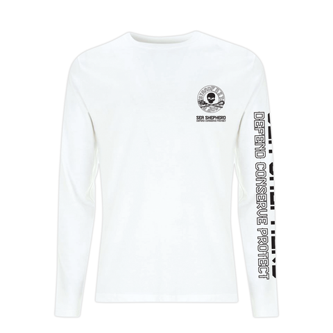 Sea Shepherd - Standfast - Ships Cargo Stamp - 100% Organic Cotton L/S Tee - White