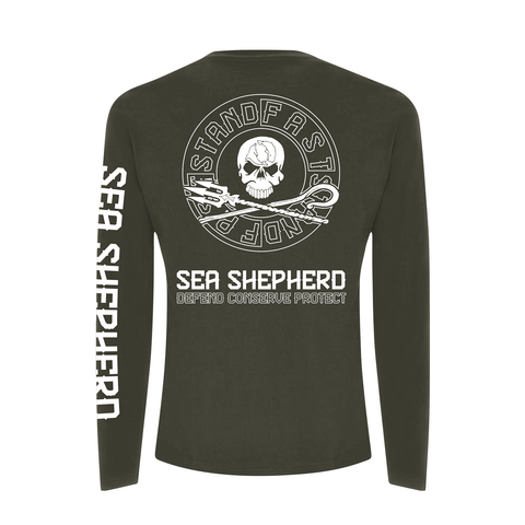 Sea Shepherd - Standfast - Ships Cargo Stamp - 100% Organic Cotton L/S Tee - Washed Green