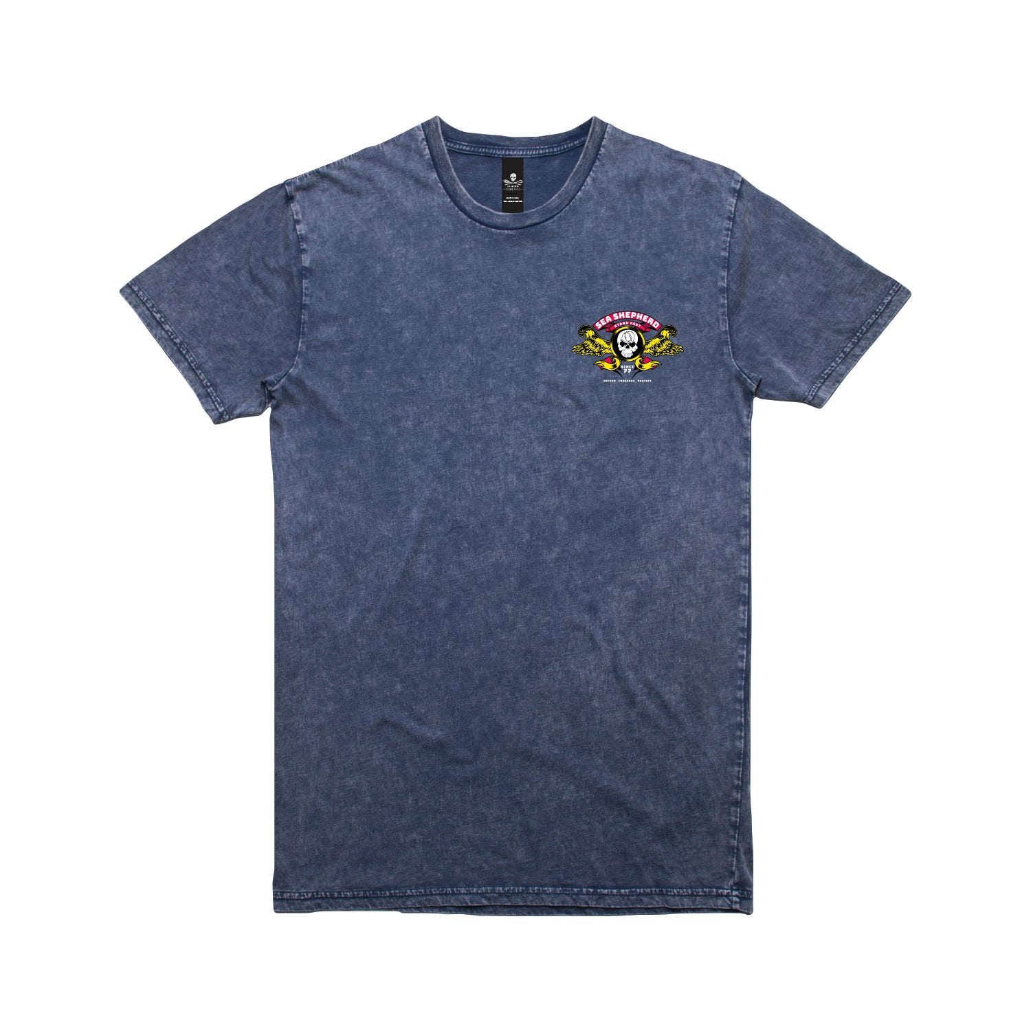 Stand Fast Barrel Wings Unisex Tee - Stone Wash Denim