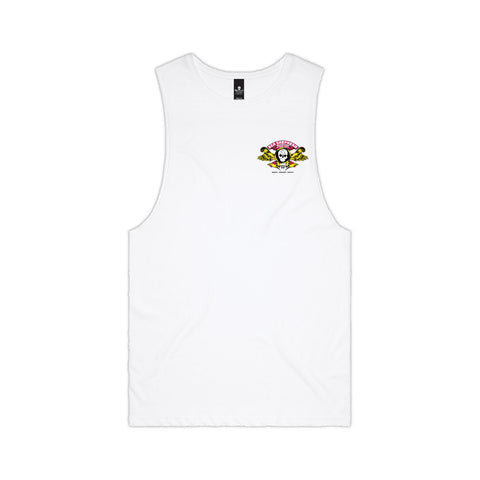 Stand Fast Barrel Wings Unisex Muscle Tee - White
